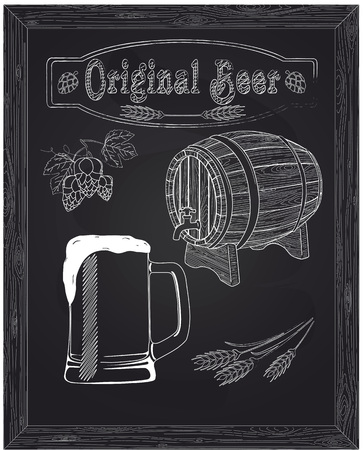 ingredients tap: beautiful mug with beer and foam beautiful mug with beer and foam drawn in chalk Illustration