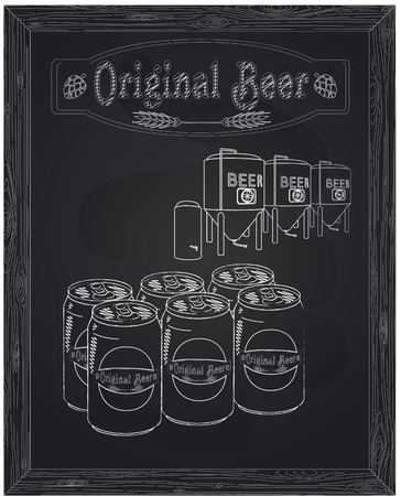 brewery: six cans of beer and brewery drawn in chalk