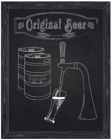 ingredients tap: It poured into a glass of beer with tap drawn in chalk