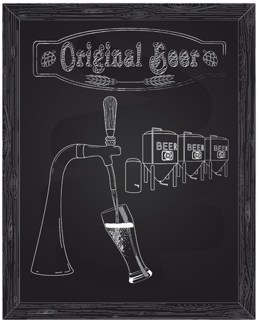 It poured into a glass of beer with tap drawn in chalk