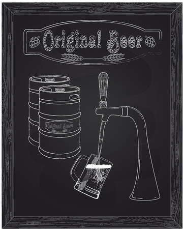 poured: It poured into a mug of beer with tap drawn in chalk Illustration
