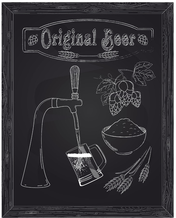 ingredients tap: It poured into a mug of beer with tap drawn in chalk Illustration