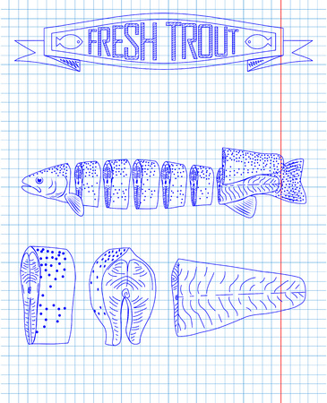 trout: cutting scheme fresh trout drawing in the pen