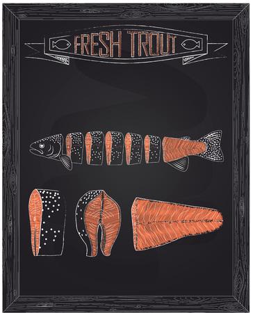 cutting board: cutting scheme fresh trout drawing in the chalk