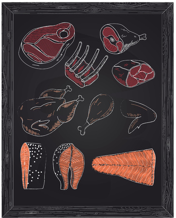 poultry: beautiful pieces of meat cattle poultry and fish drawn with chalk