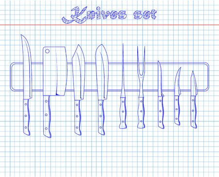 paring knife: set of kitchen knives on a magnet drawing with pen