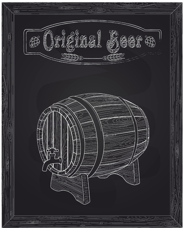 ingredients tap: beer wooden barrel and tap drawn in chalk