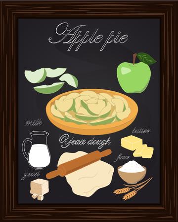 mooie appeltaart en ingrediënten getekend met krijt