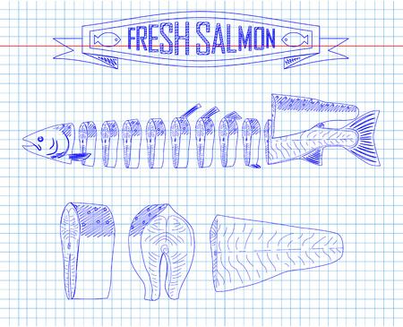 fillet steak: cutting scheme fresh salmon drawing in the pen