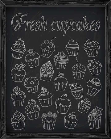 blueberry muffin: Set of fresh and delicious cupcakes drawn in chalk