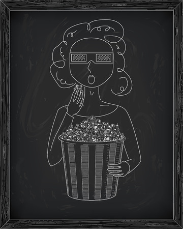 3d glasses: Girl in 3D glasses eating delicious popcorn from a big  striped carton box. Drawn in chalk