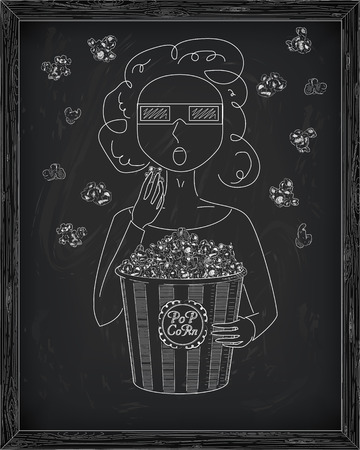 3d glasses: Girl in 3D glasses eating delicious popcorn from a big striped carton  box. Falling popcorn. Drawn in chalk