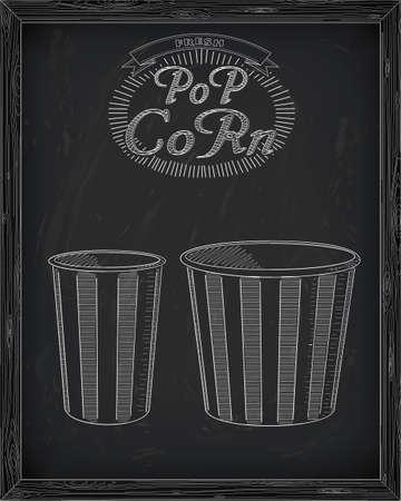 big and small: Beautiful big and small striped carton popcorn box drawn in chalk Illustration