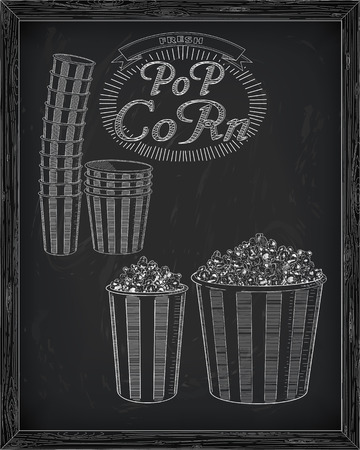 big and small: Beautiful big and small striped carton box full of delicious & fresh popcorn. Stack of small & big popcorn boxes. Drawn in chalk Illustration