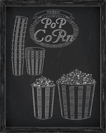 big boxes: Beautiful big and small striped carton box full of delicious & fresh popcorn. Stack of small & big popcorn boxes. Drawn in chalk Illustration