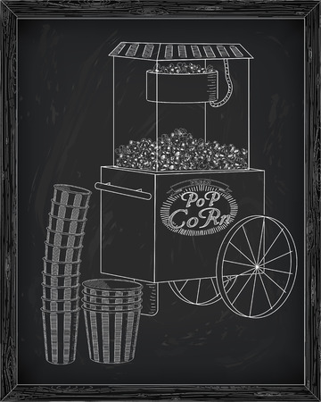 big and small: Popcorn machine on on wheels. Stack of small & big popcorn boxes. Drawn in chalk