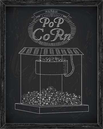 inscription: Beautiful popcorn machine with fresh delicious popcorn & vintage inscription. Drawn in chalk Illustration