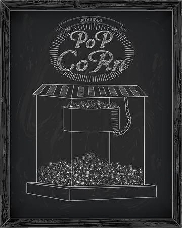 inscription: Beautiful popcorn machine with fresh delicious popcorn & vintage inscription. Drawn in chalk Illustration