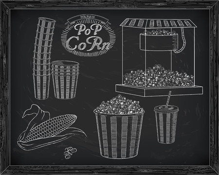big and small: Popcorn machine, ear of corn, stack of small & big popcorn boxes, big carton striped box full of popcorn and carton cup with drinking straw. Drawn in chalk