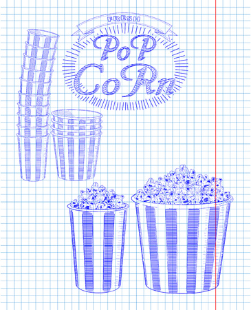big and small: Beautiful big and small striped carton box full of delicious & fresh popcorn. Stack of small & big popcorn boxes. Drawn in pen