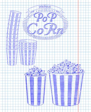 big boxes: Beautiful big and small striped carton box full of delicious & fresh popcorn. Stack of small & big popcorn boxes. Drawn in pen