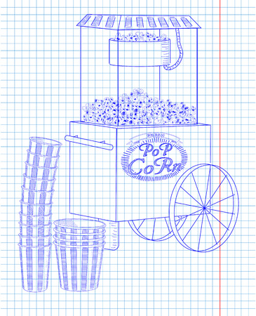 big boxes: Popcorn machine on on wheels. Stack of small & big popcorn boxes. Drawn in pen Illustration
