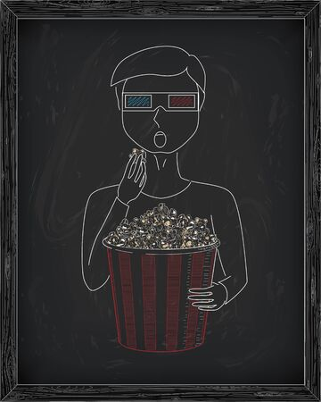 3d glasses: Man  in 3D glasses eating delicious popcorn from a big  striped carton box. Drawn in chalk