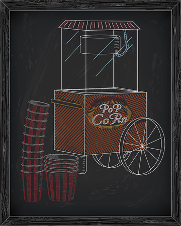 big boxes: Popcorn machine on on wheels. Stack of small & big popcorn boxes. Drawn in chalk