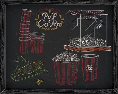 big and small: Popcorn machine, ear of corn, stack of small & big popcorn boxes, big carton striped box full of popcorn and small box with vintage inscription. Drawn in chalk