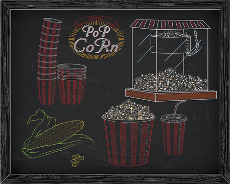 big boxes: Popcorn machine, ear of corn, stack of small & big popcorn boxes, big carton striped box full of popcorn and carton cup with drinking straw. Drawn in chalk