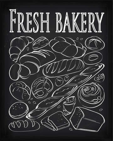 rye bread: Set of fresh and organic  bakery products drawn in chalk