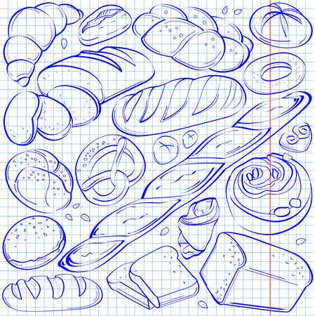 wheat grain: Set of fresh and organic bakery products drawn in pen Illustration