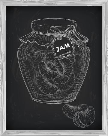 mandarins: beautiful jar of homemade jam with mandarin on a black background drawn with chalk