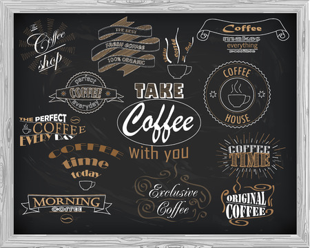 vintage cafe: beautiful signboard coffee with inscriptions drawn in chalk