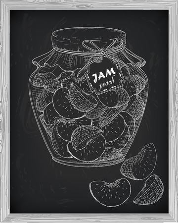 homemade: beautiful jar of homemade jam with peach on a black background drawn with chalk