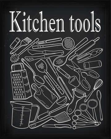 pepperbox: Kitchen tools: rolling pin whisk peeler fork grater nutcracker spatula  spoon ladle.Vertical vector outline black white vintage set illustration.Drawn chalk on blackboard with text.Low-key.