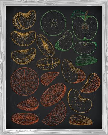 mandarins: Set fresh peach fruit mandarin orange and apple. Chalk sketch on a black background. Illustration