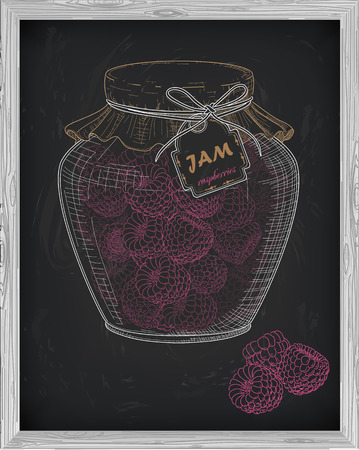 raspberry pink: beautiful jar of homemade jam with raspberry on a black background drawn with chalk