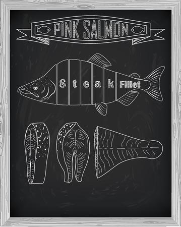 side menu: Beautiful fresh salmon closeup side view drawn with chalk. Pink salmon cutting scheme black and white colors. Menu on blackboard Illustration