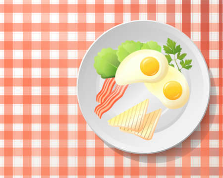 leaf lettuce: Fresh breakfast:fried egg,bacon,tasty toast,leaf salad lettuce,parsley on white plate.English meal on checkered red & white tablecloth.Top view beautiful horizontal vector illustration drawn in colour