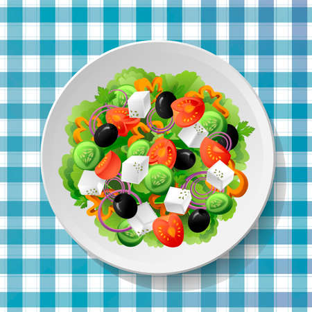 oregano: Greek vegetable salad with fresh tasty tomatoes, feta cheese, black olives, cucumbers, peppers, basil, oregano and parsley on white plate on blue-white tablecloth. Top view close up colour vector gradient illustration. Illustration