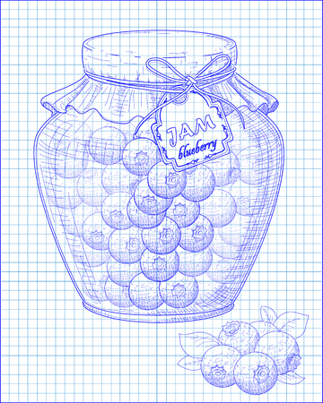 whortleberry: beautiful jar of homemade jam with blueberry on a black background drawn with pen Illustration