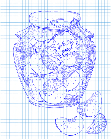 homemade: beautiful jar of homemade jam with peach on a black background drawn with pen