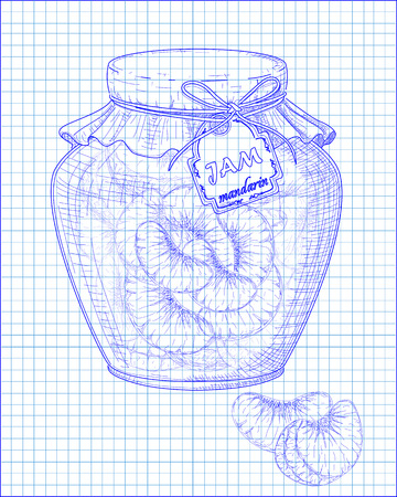 homemade: beautiful jar of homemade jam with mandarin on a black background drawn with pen Illustration