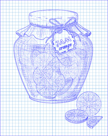 homemade: beautiful jar of homemade jam with orange on a black background drawn with pen