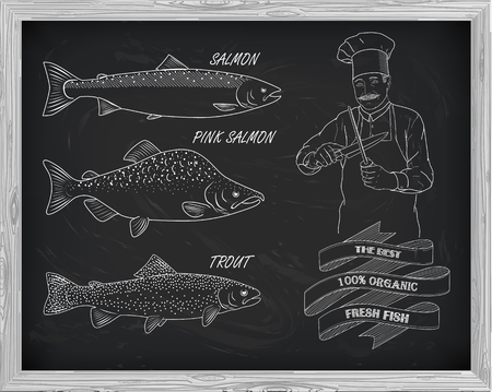 beautiful pattern of salmon, trout and pink salmon. Chef with knives with a drawing of white on a black background