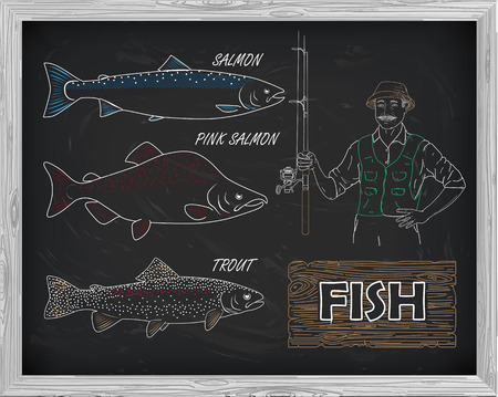 pink salmon: beautiful pattern of salmon, trout and pink salmon. Fisherman with a spinning coil with a drawing of white on a black background Illustration