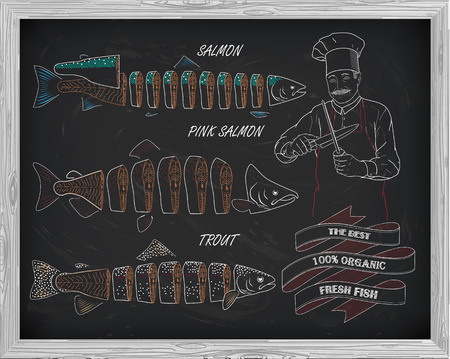 pink salmon: beautiful pattern of salmon, trout and pink salmon. Chef with knives with a drawing of white on a black background