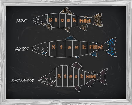 pink salmon: beautiful pattern of salmon, trout and pink salmon. Cutting scheme with a drawing of white on a black background Illustration