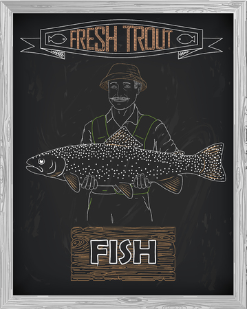trout: beautiful pattern of salmon trout. Fisherman with a drawing of white on a black background